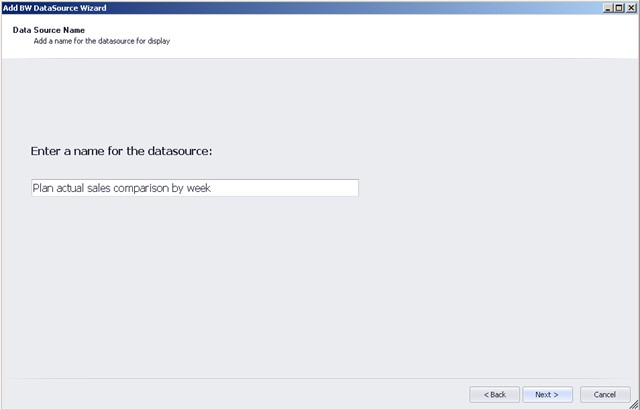 Dashboard Designer BW Data Source Wizard Add description